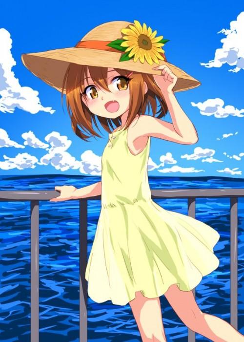 二次 エロ 萌え フェチ 帽子 麦わら帽子 水着 ワンピース服 夏 二次エロ画像 strawhat10020170807054