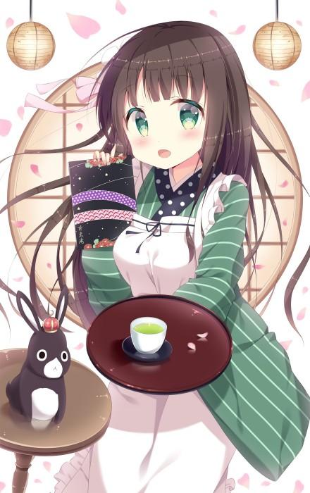 二次 非エロ 萌え お茶 日本茶 湯のみ 緑茶 食事風景 クッキー☆ ぷはーRIM 二次非エロ画像 ocha10020171031070