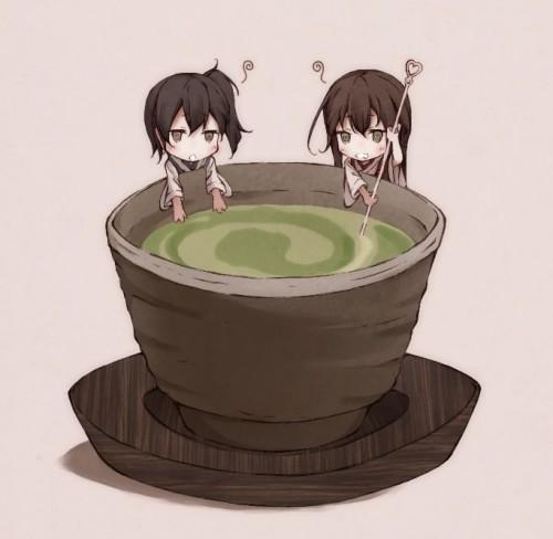 二次 非エロ 萌え お茶 日本茶 湯のみ 緑茶 食事風景 クッキー☆ ぷはーRIM 二次非エロ画像 ocha10020171031086