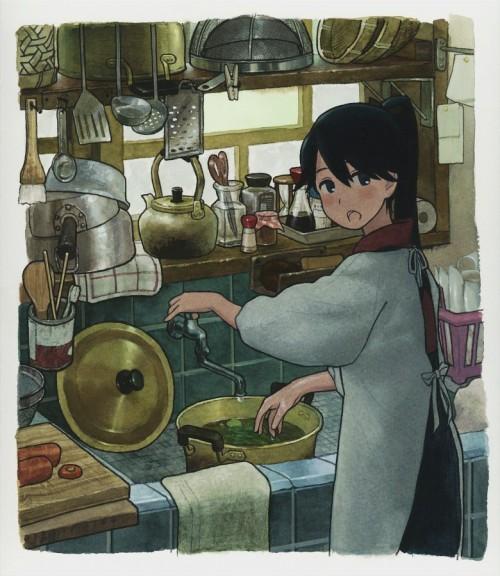 二次 非エロ 萌え フェチ 料理 調理 ご飯 食べ物 エプロン 裸エプロン 二次微エロ画像 cooking2018020132