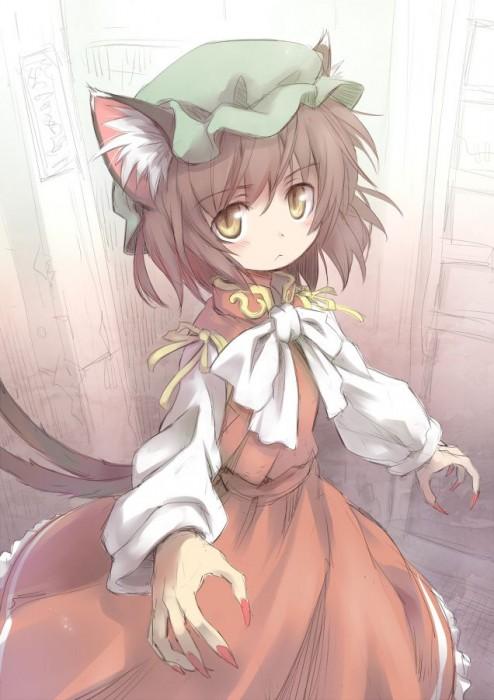 二次 エロ 萌え ゲーム 東方project けもみみ ねこみみ 猫耳 ねこミミ ネコミミ 尻尾 しっぽ 帽子 ロリ 橙 ショートカット・短髪 茶髪 二次エロ画像 chentouhou10020180222064