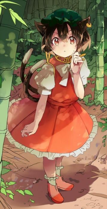 二次 エロ 萌え ゲーム 東方project けもみみ ねこみみ 猫耳 ねこミミ ネコミミ 尻尾 しっぽ 帽子 ロリ 橙 ショートカット・短髪 茶髪 二次エロ画像 chentouhou10020180222067