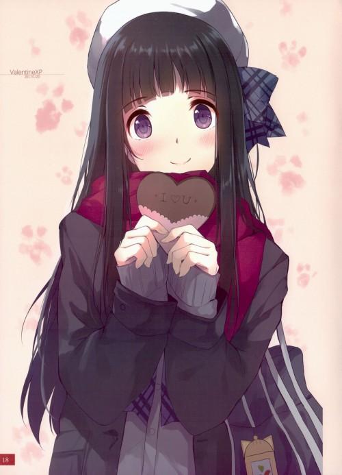 二次 非エロ 萌え フェチ バレンタイン チョコレート 裸リボン プレゼント 裸チョコ 赤面 照れてる 恥ずかしがってる 表情 二次微エロ画像 valentine10020180214024
