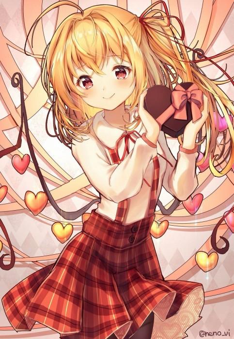 二次 非エロ 萌え フェチ バレンタイン チョコレート 裸リボン プレゼント 裸チョコ 赤面 照れてる 恥ずかしがってる 表情 二次微エロ画像 valentine10020180214070