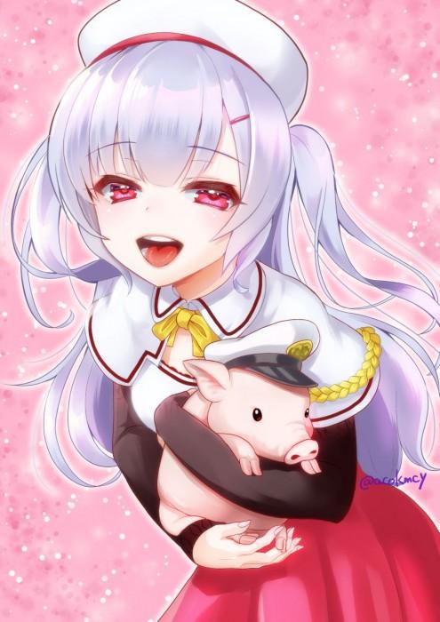 二次 エロ 萌え アズールレーン 擬人化 ゲーム エイジャックス 銀髪・白髪 ツーサイドアップ 帽子 ストッキング・タイツ 貧乳 天性のドS こぶた 子豚 二次エロ画像 ajaxazurlane2018030424