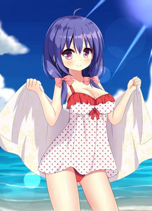 二次 エロ 萌え フェチ カジュアルワンピース水着 フリル 二次エロ画像 casualonepieceswimsuit2018041327