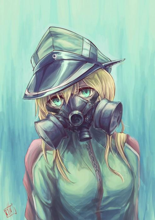 二次 非エロ 萌え フェチ ガスマスク 銃 武装少女 花粉 二次非エロ画像 gasmask2018041203
