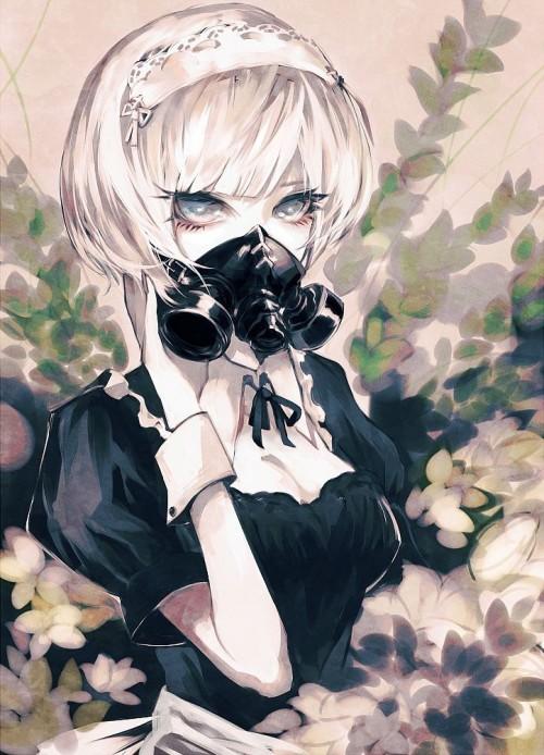 二次 非エロ 萌え フェチ ガスマスク 銃 武装少女 花粉 二次非エロ画像 gasmask2018041211