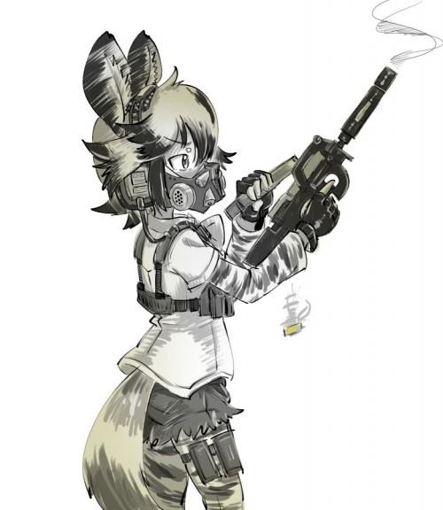 二次 非エロ 萌え フェチ ガスマスク 銃 武装少女 花粉 二次非エロ画像 gasmask2018041219