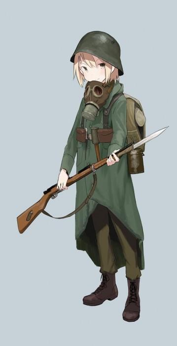 二次 非エロ 萌え フェチ ガスマスク 銃 武装少女 花粉 二次非エロ画像 gasmask2018041240