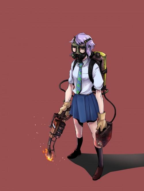 二次 非エロ 萌え フェチ ガスマスク 銃 武装少女 花粉 二次非エロ画像 gasmask2018041247