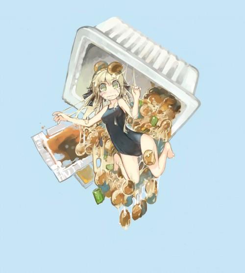 二次 萌え 非エロ 食べ物 食事風景 非エロ 納豆 艦隊これくしょん 東方Project レミリア・スカーレット 二次非エロ画像 nattou2018071029