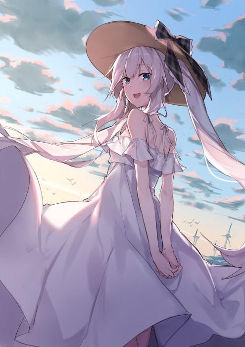 二次 非エロ 萌え フェチ ワンピース服 白ワンピ サンドレス スリーブレスドレス 透けてる サマードレス 帽子 麦わら帽子 二次微エロ画像 onepiecehuku10020180705057