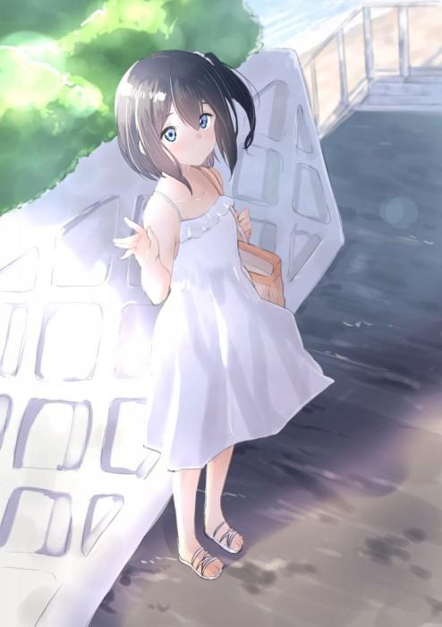 二次 非エロ 萌え フェチ ワンピース服 白ワンピ サンドレス スリーブレスドレス 透けてる サマードレス 帽子 麦わら帽子 二次微エロ画像 onepiecehuku10020180705082