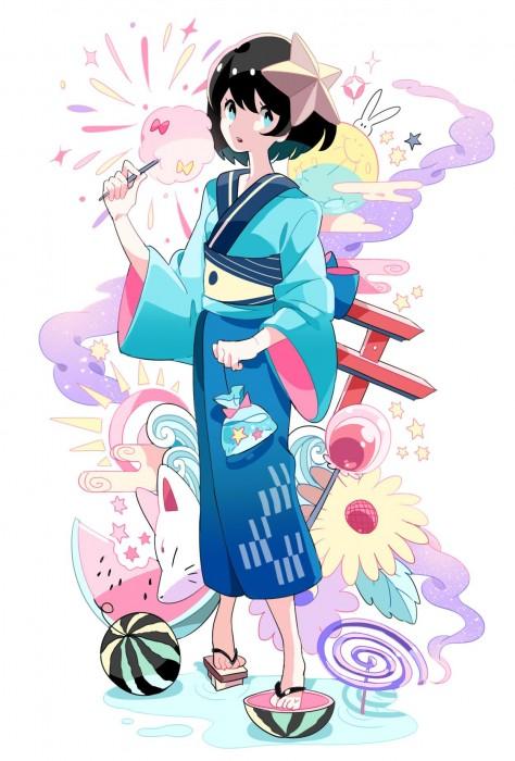 二次 萌え エロ フェチ 和服 着物 浴衣 はだけた 花火 脱衣 季節 夏 お祭り 二次エロ画像 yukata10020180726075