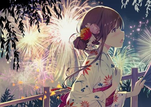 二次 萌え エロ フェチ 和服 着物 浴衣 はだけた 花火 脱衣 季節 夏 お祭り 二次エロ画像 yukata10020180726098