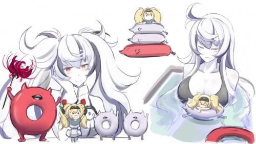二次 非エロ 萌え ゲーム 艦隊これくしょん 艦これ 深海棲艦 深海浮き輪 護衛棲水姫 ガンビア・ベイ 二次非エロ画像 shinkaiukiwa10020180823022