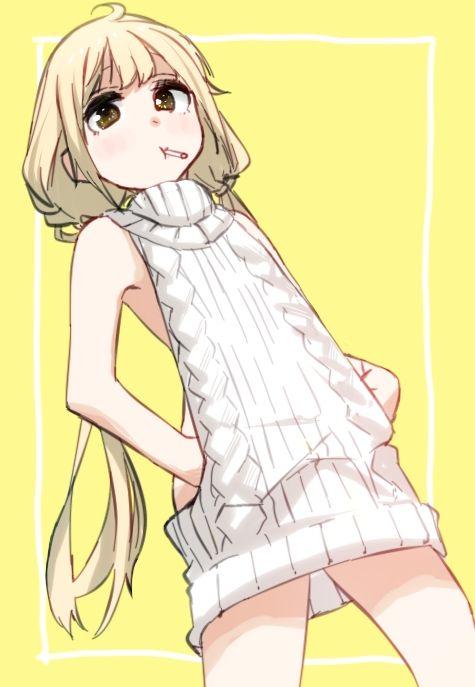 二次 エロ 萌え フェチ セーター タートルネック 着衣巨乳 裸セーター 秋 冬 ベスト カーディガン 縦セタ リブ生地 ノーパン ノーブラ 太もも はいてない つけてない 二次エロ画像