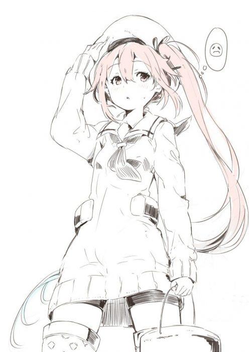 二次 エロ 萌え ゲーム 艦隊これくしょん 艦これ 擬人化 春雨 ピンク髪 セーラー服 帽子 サイドテール 白露型駆逐艦五番艦 給食係 ピンク下着 二次エロ画像