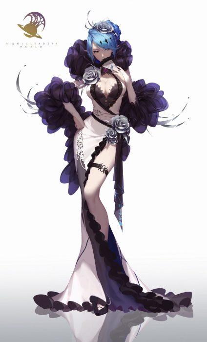 二次 エロ 萌え フェチ ドレス イブニングドレス 太もも サイドスリット 二次エロ画像