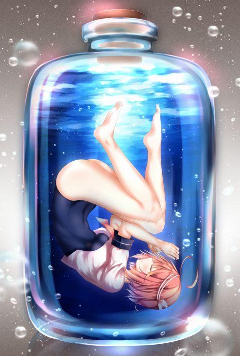 二次 非エロ 萌え ゲーム 艦隊これくしょん 艦これ 擬人化 伊58(ゴーヤ) 伊号第五八潜水艦 でち公 ピンク髪 ショートカット 短髪 アホ毛 オリョールクルージング オリョクル アホの子 スクール水着 セーラー服 二次微エロ画像