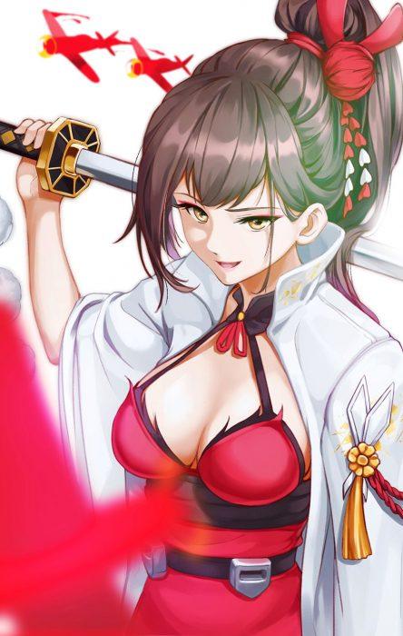 二次 エロ 萌え アズールレーン 擬人化 ゲーム アズレン 瑞鶴 和服 茶髪 刀剣 巨乳 ポニーテール 二次エロ画像